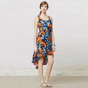 Anthropologie Maeve Sunset Hibiscus Tropical Dress